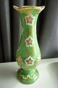 Antique Bulbous Vase 24cm High - Embossed patterning - Possibly Rockingham