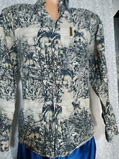 North River Shirt Wolf Woods Mens Mediim Button Front Long Sleeve Wildlife @9