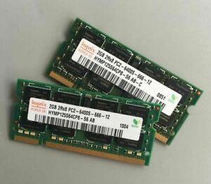 4GB (2x 2GB) LAPTOP DDR2 RAM PC2-6400S 800Mhz SODIMM Notebook Portatile No Ecc