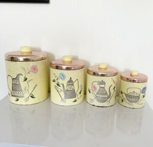 Vintage Pale Yellow Floral Set Of 4 Kitchen Storage Jars Tins Metal With Lid