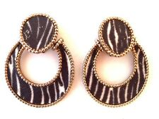 BOUCLES D'OREILLE ANNEES 70/80  MOTIFS ZEBRE VINTAGE FRENCH EARRINGS