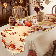 Embroidered Maple Leaves Table Runner Handmade Table Cover for Fall Party Decor