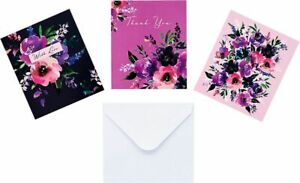 12 NOTECARDS - blank : thank you any message - notelets FLOWERS - FLORAL ART