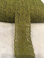 5cm Muddy Green Cotton Hollow Lace Craft Sew Trim DIY Clothes Per Meter