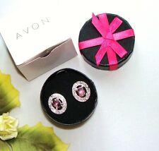 Snazzy! February AVON BORN BEAUTIFUL 2-In-1 Birthstone Earrings Faux Amethyst!