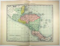 Original 1895 Map of Central America by Rand McNally. Antique