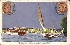 MAX cremnitz artisti scheda REGATA fantastiche spese di spedizione Cruiser Automobile circa 1920/25