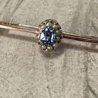 Antique 9ct Gold Seed Pearl Sapphire Brooch, 0.30ct Natural Edwardian Sapphire