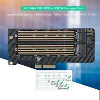 Mini M.2 NVMe SSD NGFF to PCIE X4 Converter Adapter Card M Key+B Key Dual Port