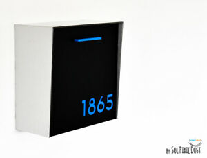 Modern Mailbox Black Face, Brushed Silver Body, Blue Acrylic numbers, Type 1