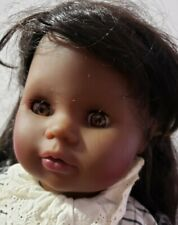 "Zapf Creation Doll 20"" African American Aa Girl 1986 Ponytails Gray Outfit Cute"