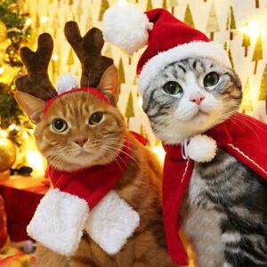 Christmas Pet Dog Cat Cape Cloak Scarf Hat Hair Hoop Headband Xmas Costume