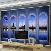 3D European Balcony City Night Scene Wall Mural Wallpaper Painting Photo Decor