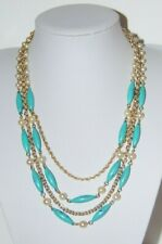 VINTAGE CORO COUTURE ACRYLIC TURQUOISE BLUE BEADS GOLDEN CHAINS & BEADS NECKLACE