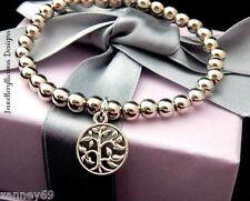 Beautiful Silver Pearl Vitality Tree Of Life Charm Bracelet Bangle 15cm -20cm