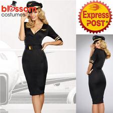 K529 Ladies Black Air Hostess Flight Attendant Pilot Uniform Fancy Dress Costume
