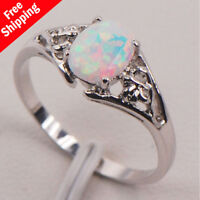 White Fire Opal 925 Sterling Silver Gemstone Women Jewelry Ring Size 6 7 8 9