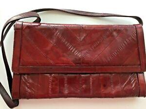 Eel Skin purse suede inside leather red maroon 6 x 10 shoulder strap clutch