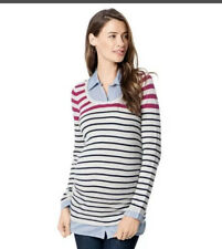 MOTHERHOOD OH BABY MATERNITY BLUE STRIPE MOCK LAYER SWEATER -SIZE X-LARGE- NWT