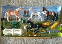 New Ray Country Life Horse Rancher farmer with horses  +accessories NEW