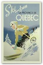 WINTER ART PRINT Ski Fun La Province de Quebec 1948