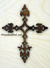 Fleur-de-lis Christian Baltic Birch Cross, Wall Hanging or Ornament, Item S4-2