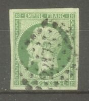 "FRANCE STAMP TIMBRE N° 12 "" NAPOLEON III 5c VERT 1854 OBLITERE PC 2217 "" TTB"