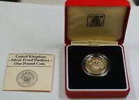 1986 United Kingdom Silver Proof Piedfort One Pound Coin- Flax Plant- Box & COA