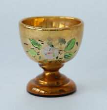 Vintage Gold with Hand Painted Flower Footed Dessert Cup