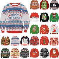 Women Men Unisex Xmas Christmas Novelty Knitted Santa Face Jumper Sweater Tops