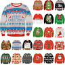 Womens Mens Unisex Xmas Christmas Novelty Knitted Santa Face Jumper Sweater Top