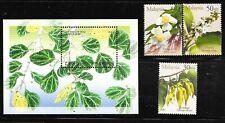 MALAYSIA Sc 828-31 NH SET+SOUVENIR SHEET of 2001 - FLOWERS