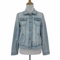 Zara Girls Jean Jacket Youth Size 13/14 Blue Light Wash Denim Button Up Retro