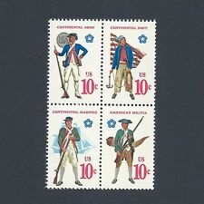 Revolutionary War Soldiers & Sailor Uniforms Mint Set of 4 Stamps 45 Years Old!