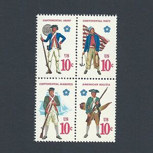Revolutionary War Soldiers & Sailor Uniforms Mint Set of 4 Stamps 46 Years Old!
