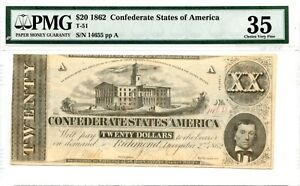 1862  $20  Confederate Currency  T--51.   PMG 35