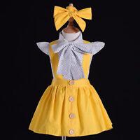 3PCS Toddler Kids Baby Girls Clothes T-shirt Tops+Button Strap Dress Outfits Set
