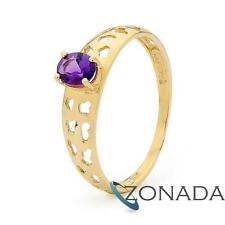 9ct Solid Yellow Gold Natural Amethyst Ring Size P 7.75 25159/AM