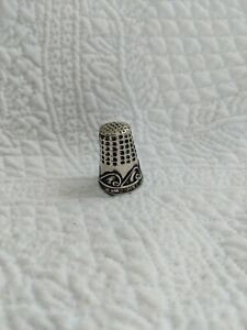 """Vintage Thimble Silver Mexican Sterling Taxco Stamped Abalone Trim 7/8"""""""