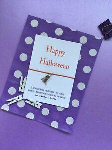 Halloween Wish Bracelet, Ghost String Bracelet, Ghost party bag filler card