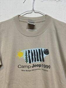 Vintage 90s 1999 Camp Jeep T Shirt Size Youth L RARE Tan Promo