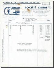 Facture - Société ROBIN Fabrique de vêtements de travail Paris 1956