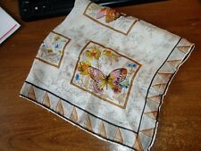 """Vintage Ladies Flower And Butterfly Scarf 20"""" x 22"""""""