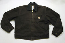 Sz L Vtg CARHARTT Plaid Lined Work Mechanic Shop Skate Rockabilly Zip Jacket