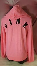 Victorias Secret PINK Hoodie Sweatshirt Full Zip Lightweight Neon Pink NWT M Med