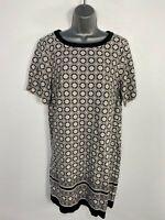 BNWT WOMENS NEXT UK14 BLACK MIX GEO FLOWER PRINT SHORT SLEEVE CASUAL SHIFT DRESS