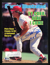 "Pete Rose Autographed Sports Illustrated Magazine Reds ""4192"" Beckett S76294"