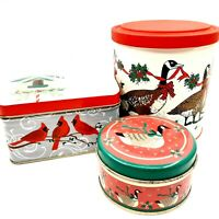 Three Assorted Goose & Cardinal Decorative Christmas Tins Bird Themed Containers