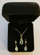 "925 Sterling Blue Topaz/CZ Earrings Necklace Set 18"" Chain JC Hallmark"