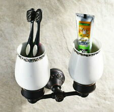 Black Oil Rubbed Bronze Toothbrush Cup &Tumbler Dual Holder For Bathroom Kitchen